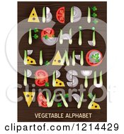 Clipart Of Vegetables Forming Alphabet Letters On Wood Royalty Free Vector Illustration
