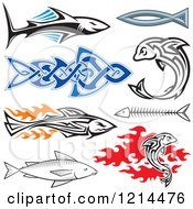 Clipart Of A Tribal Sharks And Fish Royalty Free Vector Illustration by Any Vector