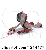Clipart Of A 3d Red Android Robot Laying On His Belly And Using A Computer Mouse Royalty Free CGI Illustration