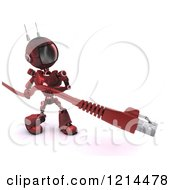 Clipart Of A 3d Red Android Robot Carrying A RJ45 Data Cable Royalty Free CGI Illustration