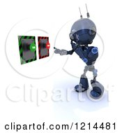 Clipart Of A 3d Blue Android Robot Deciding On True Or False Buttons Royalty Free CGI Illustration