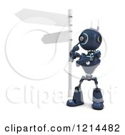 Clipart Of A 3d Blue Android Robot Thinknig At A Crossroads Royalty Free CGI Illustration by KJ Pargeter