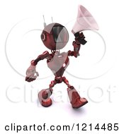 Clipart Of A 3d Red Android Robot Walking And Using A Megaphone Royalty Free CGI Illustration