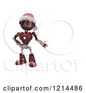 Clipart Of A 3d Red Christmas Android Robot Wearing A Santa Hat And Presenting Blank Space Royalty Free CGI Illustration
