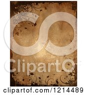 Clipart Of A Brown Background Bordered With Grunge And Flourishes Royalty Free CGI Illustration