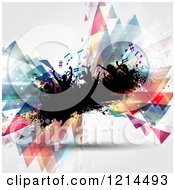 Clipart Of A Silhouetted Crownd Dancing On Grunge With Colorful Music Notes And Abstract Triangles Royalty Free Vector Illustration