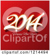 Clipart Of A 2014 Happy New Year Greeting Over Red Repeat Royalty Free Vector Illustration