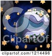 Clipart Of A 3d Crafted Christmas Globe With Houses And Trees Over Stars And The Moon Royalty Free CGI Illustration