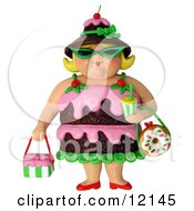 Clay Sculpture Clipart 3d Chocolate Cake Woman Wearing Shades Royalty Free 3d Illustration