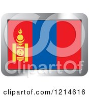 Clipart Of A Mongolia Flag And Silver Frame Icon Royalty Free Vector Illustration