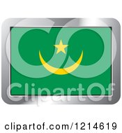 Clipart Of A Mauritania Flag And Silver Frame Icon Royalty Free Vector Illustration