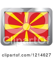 Clipart Of A Macedonia Flag And Silver Frame Icon Royalty Free Vector Illustration