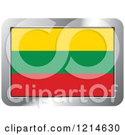 Clipart Of A Lithuania Flag And Silver Frame Icon Royalty Free Vector Illustration