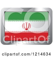 Clipart Of An Iran Flag And Silver Frame Icon Royalty Free Vector Illustration