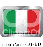 Clipart Of An Italy Flag And Silver Frame Icon Royalty Free Vector Illustration