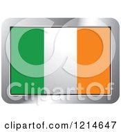 Clipart Of An Ireland Flag And Silver Frame Icon Royalty Free Vector Illustration