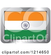 India Flag And Silver Frame Icon