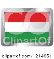 Clipart Of A Hungary Flag And Silver Frame Icon Royalty Free Vector Illustration