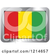 Clipart Of A Guinea Flag And Silver Frame Icon Royalty Free Vector Illustration by Lal Perera