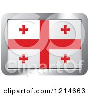Clipart Of A Georgia Flag And Silver Frame Icon Royalty Free Vector Illustration