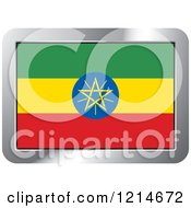 Clipart Of An Ethiopia Flag And Silver Frame Icon Royalty Free Vector Illustration