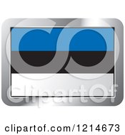 Clipart Of An Estonia Flag And Silver Frame Icon Royalty Free Vector Illustration