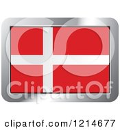 Clipart Of A Denmark Flag And Silver Frame Icon Royalty Free Vector Illustration