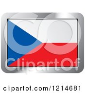 Clipart Of A Czech Republic Flag And Silver Frame Icon Royalty Free Vector Illustration