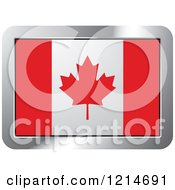 Clipart Of A Canada Flag And Silver Frame Icon Royalty Free Vector Illustration