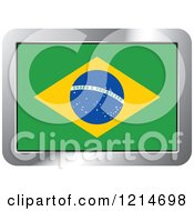 Clipart Of A Brazil Flag And Silver Frame Icon Royalty Free Vector Illustration