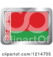 Clipart Of A Belarus Flag And Silver Frame Icon Royalty Free Vector Illustration