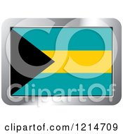 Clipart Of A Bahamas Flag And Silver Frame Icon Royalty Free Vector Illustration