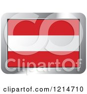 Clipart Of An Austria Flag And Silver Frame Icon Royalty Free Vector Illustration