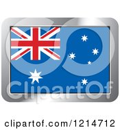 Clipart Of An Australia Flag And Silver Frame Icon Royalty Free Vector Illustration by Lal Perera