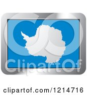 Clipart Of An Antarctica Flag And Silver Frame Icon Royalty Free Vector Illustration