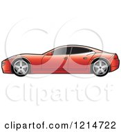 Clipart Of A Red Four Door Sports Car Royalty Free Vector Illustration by Lal Perera