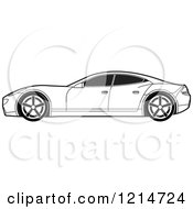 Clipart Of A Black And White Four Door Sports Car Royalty Free Vector Illustration by Lal Perera