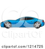 Clipart Of A Blue Four Door Sports Car Royalty Free Vector Illustration