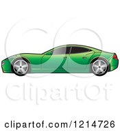 Clipart Of A Green Four Door Sports Car Royalty Free Vector Illustration