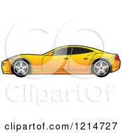 Clipart Of A Yellow Four Door Sports Car Royalty Free Vector Illustration