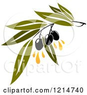 Clipart Of Black Olives With Leaves And Oil Drops Royalty Free Vector Illustration
