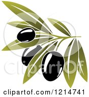 Clipart Of Black Olives With Leaves 3 Royalty Free Vector Illustration