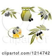 Clipart Of Black Olives Branches And Oil Royalty Free Vector Illustration