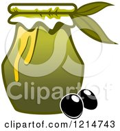 Clipart Of A Jar Of Oil And Black Olives Royalty Free Vector Illustration