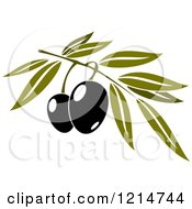 Clipart Of Black Olives With Leaves 2 Royalty Free Vector Illustration
