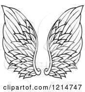 Clipart Of A Pair Of Black Feathered Wings 14 Royalty Free Vector Illustration
