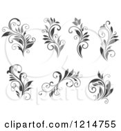Clipart Of Gray Flourish Designs Royalty Free Vector Illustration