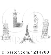 Clipart Of Black And White Sketched Architectural Monuments And Landmarks Royalty Free Vector Illustration by Vector Tradition SM