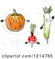 Clipart Of Pumpkin Radish And Daikon Radish Characters Royalty Free Vector Illustration by Vector Tradition SM