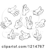 Clipart Of Black And White Gloved Hand Gestures 3 Royalty Free Vector Illustration